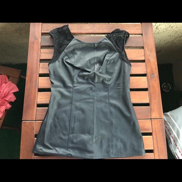 Express Tops - Vinyl black shirt